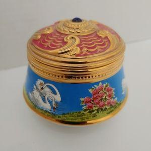 Faberge Franklin Mint Swan Lake Trinket Box